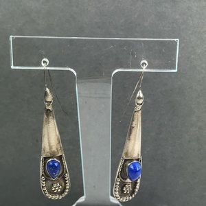Vintage boho silver lapis drop earrings